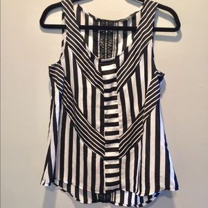 XOXO Striped Lace Tank Top Blouse M